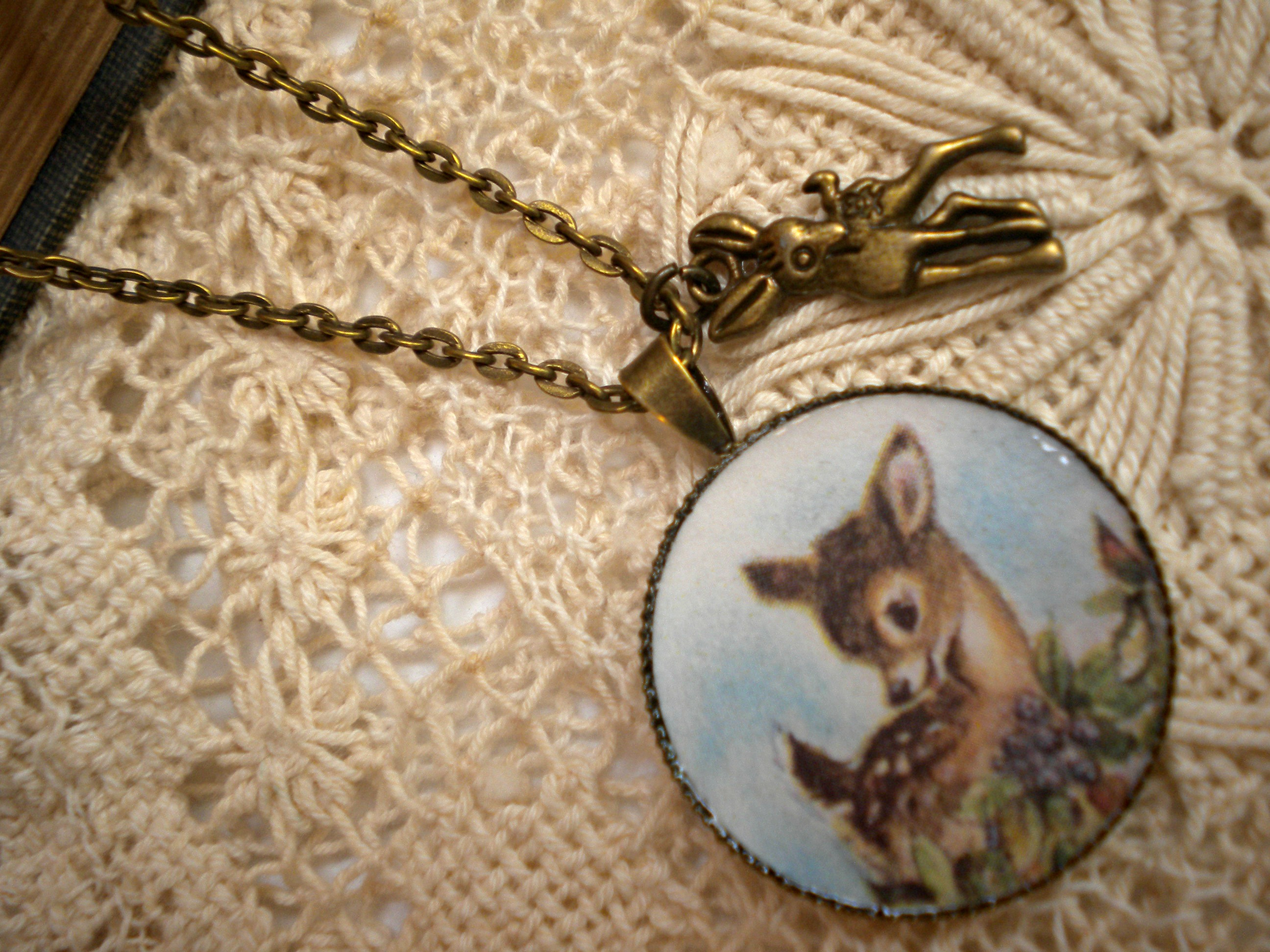 charms yellow stag pin pendant gold and fine head charm deer bracelets