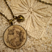 brass necklace sepia fairy 2 pm