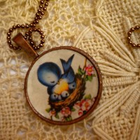 Vintage necklace bluebird