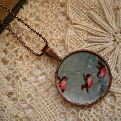 Vintage necklace pink birds